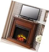 Corner TV Stand Electric Fireplace Adjustable Flame Heater