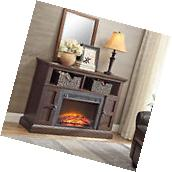 Tv Media Stand Fireplace Console Electric Entertainment