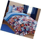 Twin Size 5-PC Boys Sports Bedding Set Comforter Sham Sheets