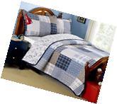 TWIN Boys Blue Plaid Patchwork Reversible Dinosaur Quilt Set