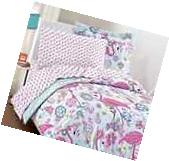TWIN Size 5-PC Bright Pink Flamingo Comforter Set w Sheets