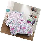 TWIN Size Girls Flamingo Comforter 5 PC Set Bedding PINK