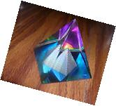 LOT OF TWO LEAD CRYSTAL CUT GLASS PYRAMID PRISMS 50mm X 2 X