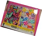 "NEW Two 1000 Piece Puzzles In One Box ""Butterflies &"