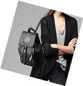 US Women New Backpack Travel Black Leather Handbag Rucksack