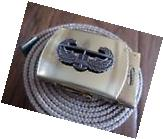 US MILITARY KHAKI WEB BELT WITH NAVY SILVER ENLISTED