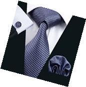 USA New Classic Blue Mens Checks Silk Ties Jacquard Woven
