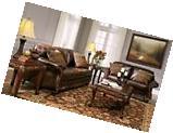 Vanceton Mocha Brown Leather Traditional Wood Sofa &