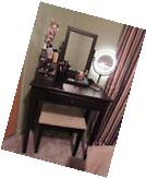 Make Up Vanity Set 3 Piece Wood Jewelry Table And Stool With