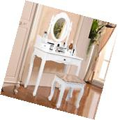 Vanity Table Jewelry Makeup Desk Bench Dresser w/ Stool 3