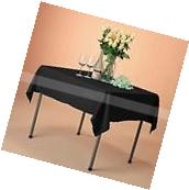 "VEEYOO 54x54"" Square Black Polyester Tablecloth Table Cover"