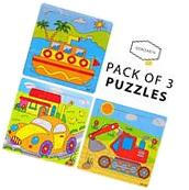 Vehicles Wooden Jigsaw Puzzles 9 PCS With a Tray, Toddlers