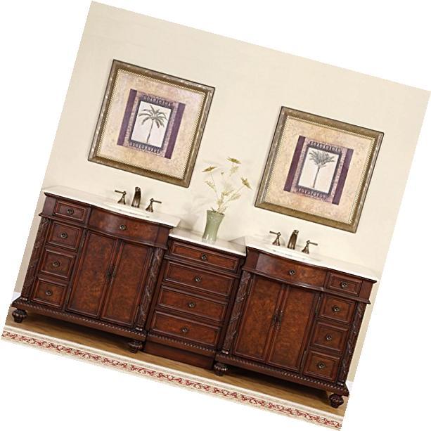 "Victoria 60"" Double Sink Bathroom Vanity Cabinet GREY/White"
