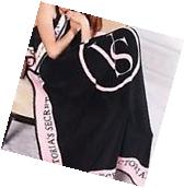 Victorias Secret Black and Pink Plush Throw Blanket - NEW -