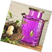 Large Vintage Country Purple Flower Frog Glass Jar Vase