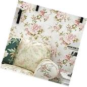Vintage Cream/Pink Roses Flower Gold Wallpaper Roll home
