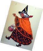 Vintage Halloween Beistle Witch Cats Diecut Decoration Large
