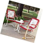 Vintage Patio Set 3 Piece Outdoor Furniture Chairs Round