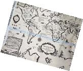1 yard vintage retro world map cotton linen sewing quilting