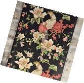 Vintage Victorian Floral and Bird Black Wallpaper White Pink
