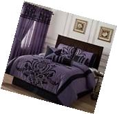 Chezmoi Collection 7-Piece Violet Black Flocked Floral