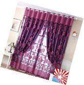 Voile Door Curtain Window Room Drape Panel Floral Peony
