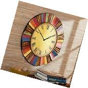 Large Wall Clock Vintage Style Round Antiqued Metal Side