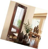 Full Length Wall Mirror Antiqued Silver Accents Large Tall