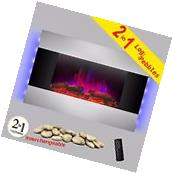 """36"""" Wall Mounted Electric Fireplace Heater Backlight With"""