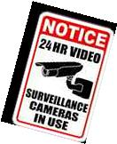 4 PK Warning Security Cameras In Use Video Surveillance