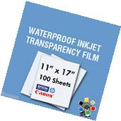 """Waterproof Inkjet Transparency Film 13"""" x 19"""" - 100 Sheets"""