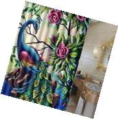 60x72 Inch Waterproof Polyester Fabric Peacock Bathroom