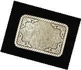 Crumrine Western Mens Belt Buckle Rectangle Elk Silver 38042