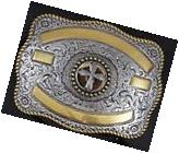 Crumrine Western Rectangle Cross Gold and Silver ribbon belt