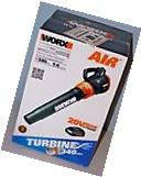 WORX WG546 TURBINE 20V Cordless Blower/Sweeper with 340 CFM