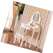3 Drawer&Mirror Makeup White Vanity Dressing Table Set w/