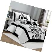 Chezmoi Collection 7-Piece White Black Flocked Floral