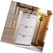White Shoe Cabinet Organized Rack Shoe Closet with 3 Doors