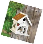 White country shabby cottage Wood fairy Bird house