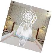 White Dream Catcher with Feather Wall Hanging Decor Ornament