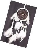 New White Dream Catcher Handmade With Leather & Feathers Car