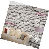 10M Roll White Grey Brick Stone Pattern Vinyl Wallpaper Roll
