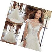 New White/Ivory Lace Wedding Dress Bridal Gown custom size 6