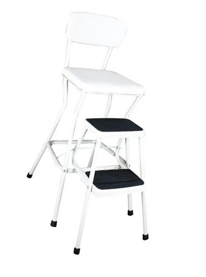 Cosco White Retro Counter Chair / Step Stool with Lift-up