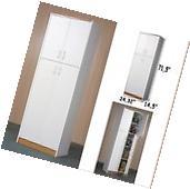 Kitchen Storage Cabinet White Tall Cupboard 4 Door Kitchen