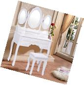 Tri Folding Oval Mirror Wood Vanity Makeup Table Set with