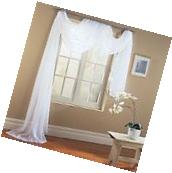 WHITE Valance Sheer Curtain Scarf Panel Swag Voile Drape