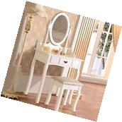 Elegant White Vanity Makeup Dressing Table Wood Desk ,Set w/