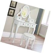 White Vanity Makeup Dressing Table Set Wood Desk w/Stool 5