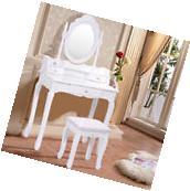 White Vanity Wood Makeup Dressing Table Stool Set Bathroom